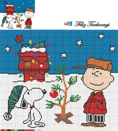 Peanuts snoopy Charlie brown Christmas chart cross stitch pattern