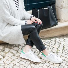 Minimal + Classic: stripes, soft cardigan, leather trousers + stan smith