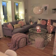 162 affordable apartment living room design ideas on a budget page 12 Living Room Decor Cozy, Living Room Grey, Home Living Room, Apartment Living, Living Room Designs, Living Room Ideas Pink And Grey, Pink Living Rooms, Single Girl Apartment, Girl Apartment Decor