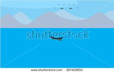 A Sailing Boat in a lake with mountains and birds are flying. Illustrated vector, flat and solid color - stock vector