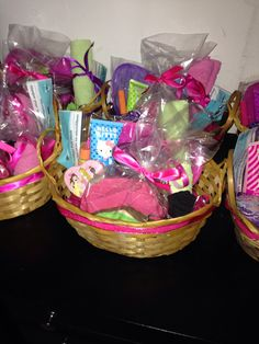 Spa Party gift baskets- custom made with things bought from Dollar Tree and Walmart.