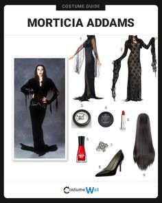 The best costume guide for dressing up in the deathly look of Morticia Addams, the witchlike matriarch appearing on The Addams Family. Morticia Adams Halloween Costume, Morticia And Gomez Costumes, Costume Halloween, Halloween Costumes Adams Family, Morticia Addams Costume, Diy Halloween Costumes For Women, Family Costumes, Halloween Outfits, Halloween 2020