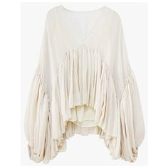 High and Low Ruffle Blouse (€72) ❤ liked on Polyvore featuring tops, blouses, cream, puffy sleeve blouse, see through blouse, oversized blouse, cream sheer blouse and low v neck tops