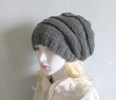 Knitted Dreadlock HatChanky Beanie Large Beanie by recyclingroom