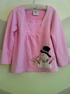 Boutique Embroidered Frozen Snowman Crystal Snowflake Shirt, Girls 6, Winter  #DecoratedOriginals #EverydayHoliday #Frozen #snowman