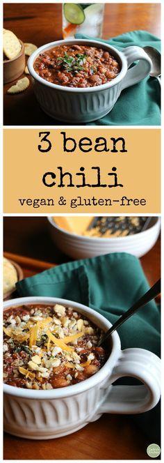 3 bean chili - a hearty vegan chili that's sure to stick to your ribs | cadryskitchen.com
