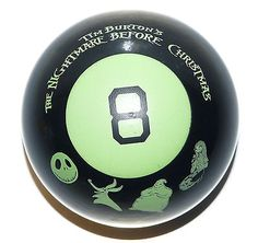 Nightmare Before Christmas Magic 8 Eight Ball  Glow in the Dark RARE Fundex