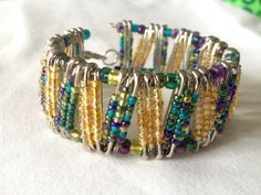 Peacock & Gold Safety Pin Bracelet by PerfectlyUnraveled on Etsy, $12.00