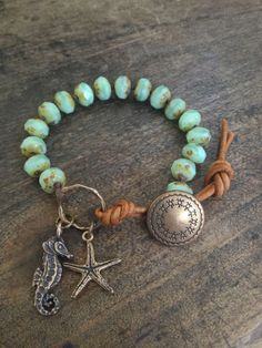 "Sea Horse & Starfish Hand Knotted Bracelet, ""Beach Boho"""