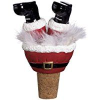Ganz Christmas Wiggle Legs Wine Bottle Toppers - Santa Boots