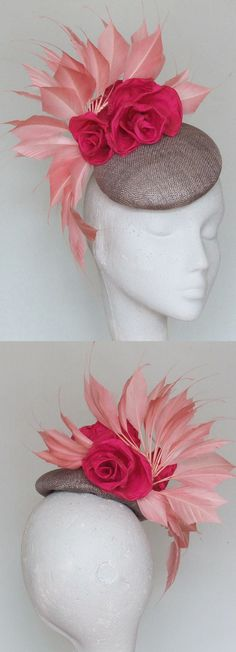 Hot and Baby Pink Floral Feathers Fascinator Hat. Pretty Headpiece for Mother of the Bride or Racing Fashion, Day at the races. Kentucky Derby Oaks day, Royal Ascot, Epsom Derby, Melbourne Cup. Raceday Fashion ideas and inspiration. Winter wedding guests. #millinery #kentuckyderby #derbyoutfits #royalascot #ascotoutfits #racingfashion #motherofthebride #weddings #melbournecup #weddingguest #affiliatelink #hats #summerwedding
