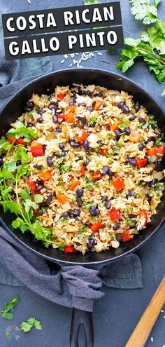 2 reviews · 30 minutes · Vegan Gluten free · Serves 4 · Make up this quick and easy authentic Gallo Pinto recipe in just 30 minutes! Lizano sauce coats black beans, rice, peppers and onions for a flavor explosion. Serve these Costa Rican rice and beans for… Healthy Rice Recipes, Gluten Free Recipes For Dinner, Delicious Vegan Recipes, Bean Recipes, Best Side Dishes, Side Dish Recipes, Gallo Pinto, Easy Baked Chicken, Vegetable Sides