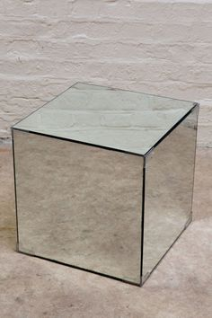 Mirrored Glass Cube Table ( Mirror Box )