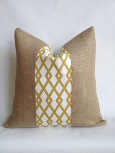 Graphic Fret Citrine Fabric by Robert Allen and Burlap Pillow Cover. $21.00, via Etsy.