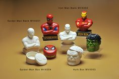 Iron Man Bank, Spiderman Bank, Hulk Box, Spiderman Box Color Me Mine, Ceramic Bisque, Pottery Painting, Hulk, Iron Man, Cave, Ceramics, Box, Ideas