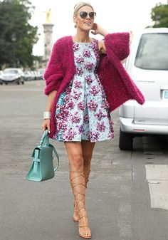 Stylish Lady: Cat sunnies + berry pink fluffy jacket + Mary Katrantzou 3d floral pastel cocktail dress + aqua bag + gladiator shoes at #Fall2014 #Paris #Couture Fashion Week #StreetStyle