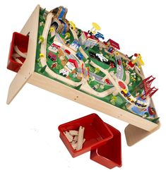 Brio train table-Jensen made a beautiful train table for the boys to use for all the Brio pieces.