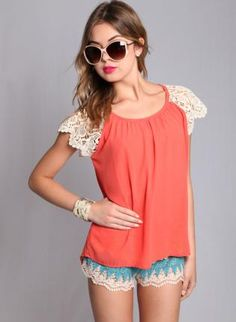 coral top with lace sleeves #crochet #fallfashion