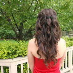 waterfall braid curly hair   down