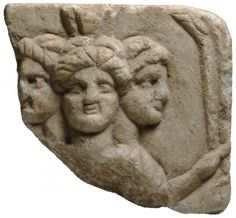 Triple-bodied Hekate, goddess of crossroads, the moon, and nocturnal sorcery  - Relief fragment, Graeco-Roman ~1st century BCE
