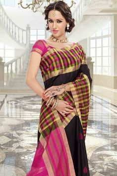 Black raw silk weaved saree in pink border & multi colour checks border