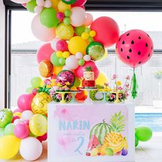 2nd Birthday Party For Girl, First Birthday Balloons, Fruit Birthday, Summer Birthday, 21st Birthday, Colorful Birthday Party, Cadeau Baby Shower, Idee Baby Shower, Baby Shower Fruit