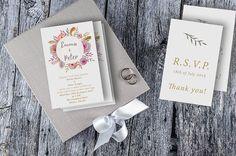 Vintage Floral Wedding Invitation / Romantic Wedding Invitation / Partecipazioni Nozze