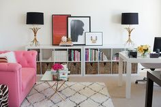 Oh!  Love this, esp with the pink sofa!  ~Deborah  How I Start A Room Makeover:  Home Office Inspiration