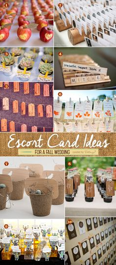 Creative escort card ideas using apples, mini logs, luggage tags, and toy pieces like Scrabble for fall weddings. #fallweddings #fallweddingideas