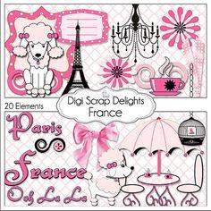 Buy 2 Get 1 Free France Clip Art Scrapbook by DigiScrapDelights, $4.00  #pnk #black #pink and black