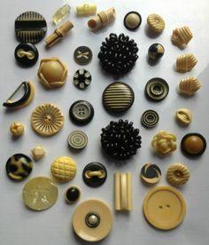 Art Deco Vintage Ivory / Black Celluloid Buttons