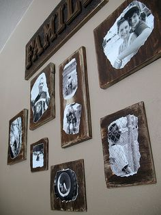 Can't find frames you like?Decoupage family photos onto distressed wood.