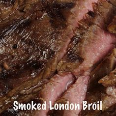 Try Smoked London Broil, a Richly Flavored, Marinated Top Round Roast - Medium Rare London Broil On White Serving Dish, Cooked In Char Broil Smoker - London Broil Smoker Recipe, Char Broil Smoker, London Broil Marinade, London Broil Steak, Grilled London Broil, Smoker Grill Recipes, London Broil Recipes, Cooking London Broil