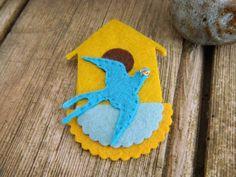 Broche textile belle  oiseau et volière broche avec par ruefedor