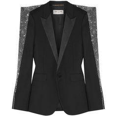 Saint LaurentCrystal-embellished Wool-gabardine Blazer (40.576.280 IDR) ❤ liked on Polyvore featuring outerwear, jackets, blazers, black, coats, wool jacket, embellished blazer, structure jacket, lapel jacket and sparkly jacket