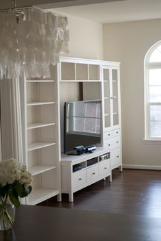Hemnes, Tv Living Rooms and Living Room Storage Basement Living Rooms, Living Room Sectional, Living Room Storage, Living Room Tv, Murphy Bed Ikea, Murphy Bed Plans, Ikea Inspiration, Living Room Inspiration, Living Room White