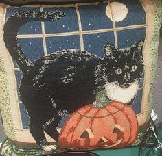 Seasonal pillow featuring black cat & pumpkin fun! B314 $20 GasLampAntiques.com #GasLampAntiques #100PowellPl #HalloweenDecor #CatPillow