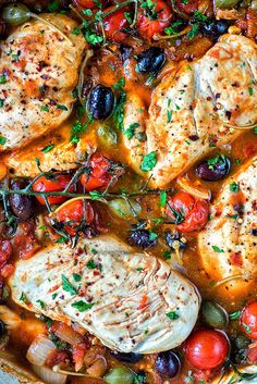 Low-carb Chicken alla Puttanesca by supergoldenbakes #Chicken #Cherry_Tomatoes #Olives #Capers #Healthy