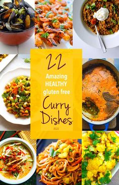 The Best Gluten Free Curry recipes around the web! These 22 Gluten Free Curry recipes sure to keep you Healthy this Fall! All easy to make, full of amazing nutrients and flavor, and perfect for entertaining or a family meal. Gf Recipes, Healthy Eating Recipes, Curry Recipes, Gluten Free Recipes, Indian Food Recipes, Asian Recipes, Healthy Snacks, Ethnic Recipes, Recipes Dinner