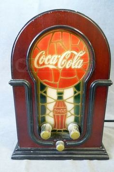 Coca Cola Stained Glass Look AM FM Radio-Coke