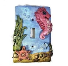 Under the Sea Polymer Clay Seahorse Switch plate Cover | FantasyClay - Housewares on ArtFire