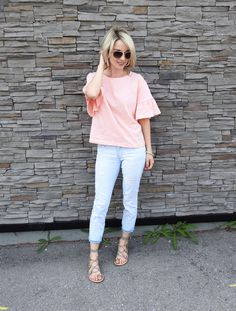 Casual top, light pink frilled sleeve top, distressed cropped denim, gladiator sandals, pineapple clutch, summer style, tiaras and heels blog