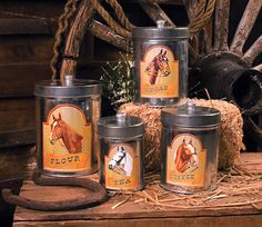Image detail for -Western Art, Western Decor - Horse Country Kitchen Canisters Set of 4 Western Kitchen, Country Kitchen, Rustic Kitchen, Kitchen Ideas, Pantry Ideas, Western Homes, Western Art, Western Style, Cheap Home Decor