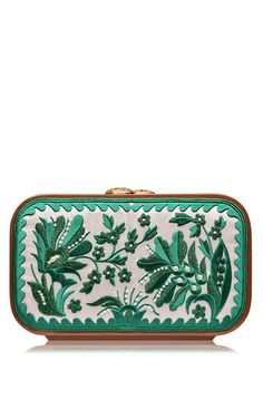Green floral brocade embroidered square bag by KATRIN LANGER for Preorder on Moda Operandi