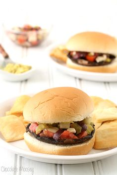 Greek Portobello Mushroom Burgers baked in the oven then topped with Greek salsa - you won't even miss the meat! Great dinner recipe for both vegetarians and those looking to eat meatless few days a week