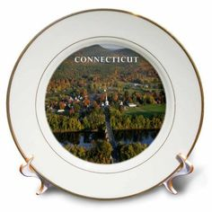 3drose beautiful aerial view of connecticut river porcelain plate 8 inch