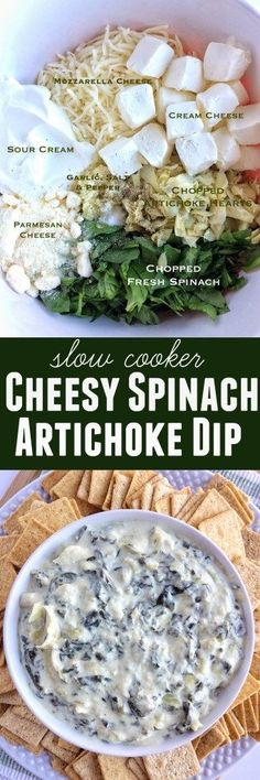 Slow Cooker Cheesy Spinach Artichoke Dip Slow Cooker Cheesy Spinach Artichoke Dip - Together as Family Slow Cooking, Cooking Recipes, Vegetarian Recipes, Potluck Slow Cooker Recipes, Crockpot Recipes, Slow Cooker Dips, Slow Cooker Appetizers, Yummy Appetizers, Appetizer Recipes