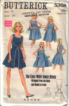 Butterick 5368; ca. 1969; Dress with front and back scoop neckline has purchased fold-over...