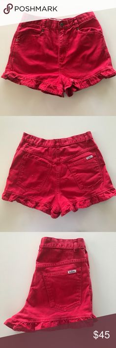 "Vintage Bonjour Red Ruffle High Waisted Shorts Vintage (80s) Bonjour Red Ruffle High Waisted Shorts, Size 11/12, EUC, Smoke Free Home.   Measurements are approx.   Waist: 27"" Inseam: 2 1/2"" Hips: 38"" Front Rise: 12 1/2"" Vintage Shorts"