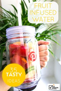 35 Fruit Infused Water Ideas by Nienke Krook of The Travel Tester (@thetraveltester)! See the recipes here: http://www.thetraveltester.com/project-pinterest-fruit-infused-water/ #HSPinParty